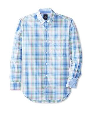 61% OFF TailorByrd Men's Monroe Long Sleeve Plaid Modern Sportshirt (Peri Blue)