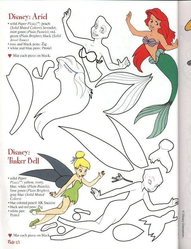 Moldes das Princesas - Branca de Neve, Cinderela e a Ariel - Dicas pra Mamãe