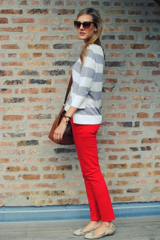 bright pants with striped sweater, so cute and fun but not too out there