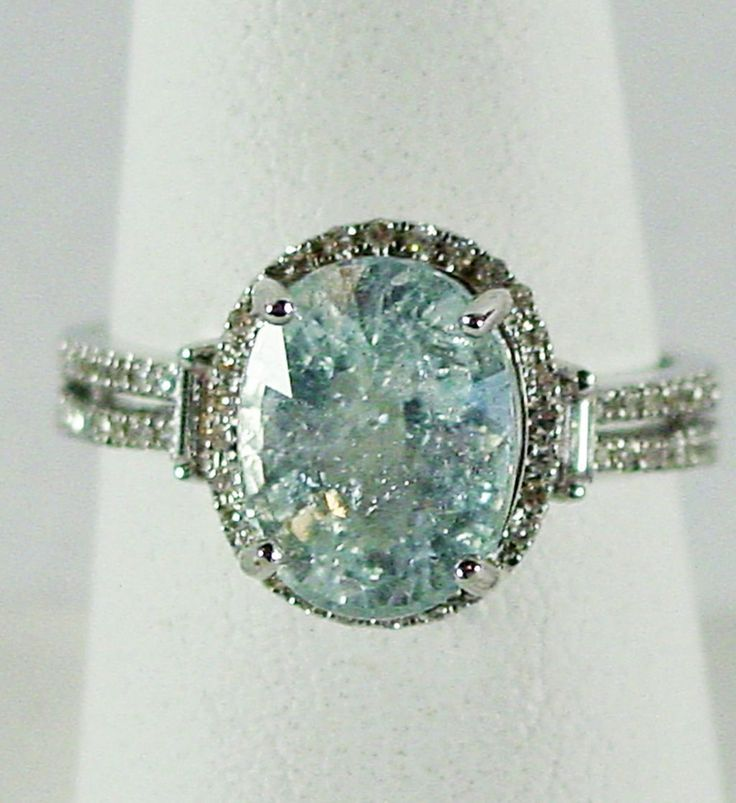 "14K WG ""Ice Blue"" Cuprian Tourmaline & Diamond, Size 7 1/2 from 4sot on Ruby Lane"