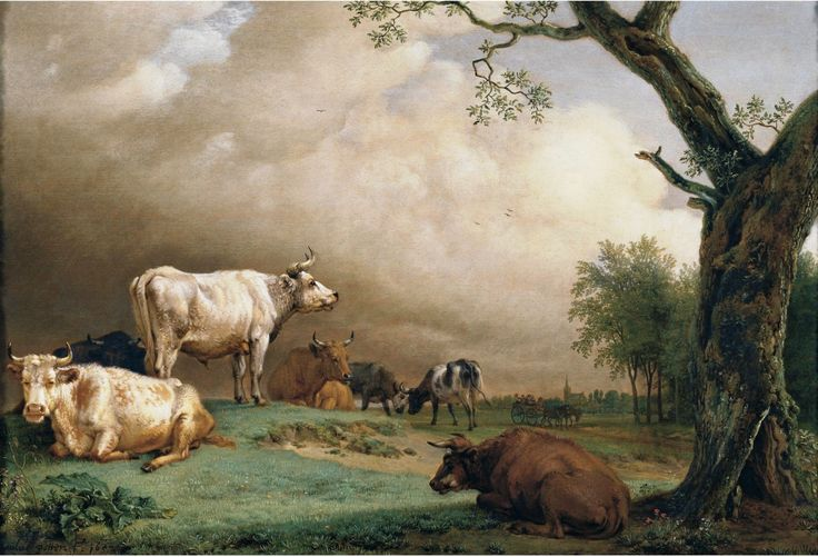 Paulus Potter - Cattle in a Field, with Travellers in a Wagon on a Track Beyond and a Church