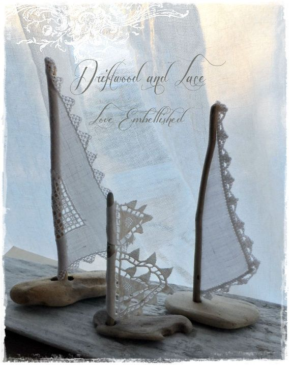 Driftwood and Lace Beach Decor Sail Boat ~ by LoveEmbellished
