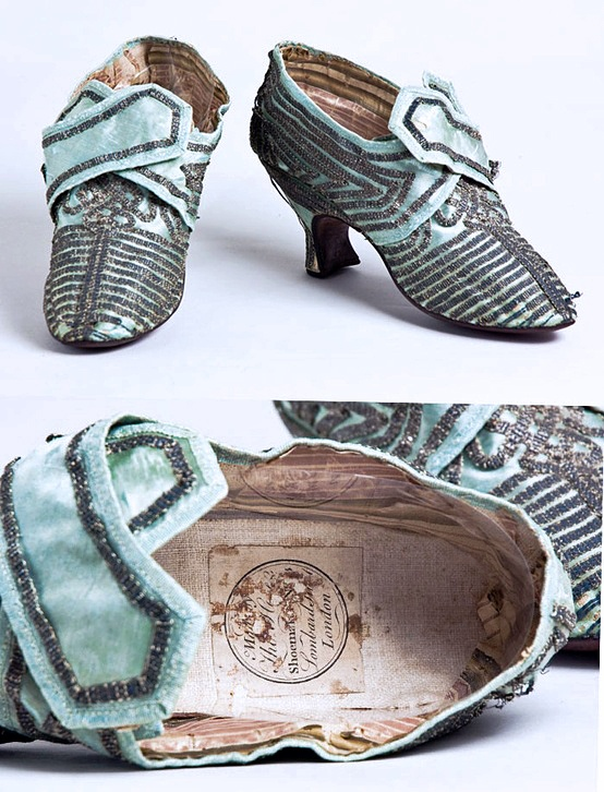 Blue satin shoes with silver trim made in London | ca. 1770 | Worn by Eliza Lucas Pinckney. Courtesy of The Charleston Museum, Charleston, South Carolina.