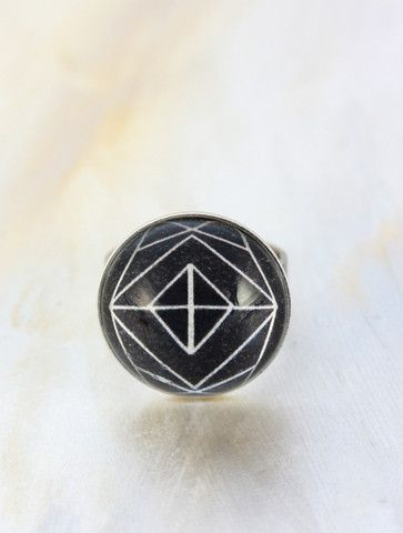 Charcoal Geo Ring by Cloud Nine Creative  www.cloudninecreative.co.nz
