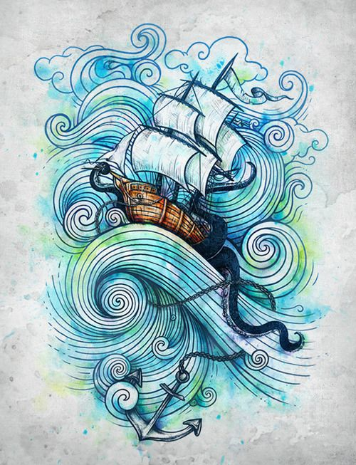 "This would be an awesome tattoo design! I really like the wave design of this piece. But include Joshua 1:5&9 <3 .....   No one will be able to stand against you as long as you live.   I will be with you, just as I was with Moses. I will not leave you or forsake you.  Haven't I commanded you: be strong and courageous?   Do not be afraid or discouraged, for the  Lord  your God is with you wherever you go."" (Joshua 1:5, 9 HCSB)"