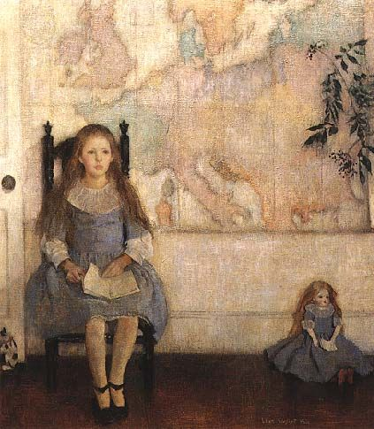 Nancy and the Map of Europe, 1919, oil on canvas, private collection; by Lilian Westcott Hale, (1880-1963) Carney Gallery Regis College Fine Arts Center Weston, MA http://www.tfaoi.com/am/1am/1am198.jpg