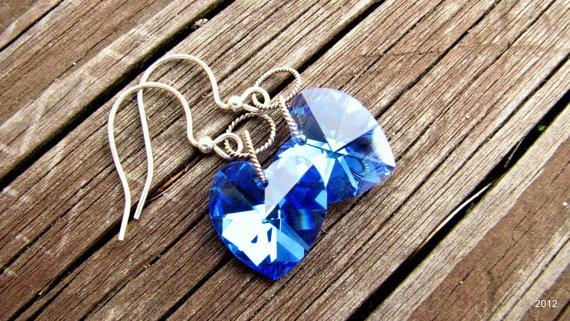 Crystal Heart Earrings  Silver by BellaDonnaJewelryCo on Etsy, $20.00
