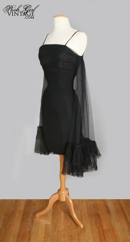 Special Rat Pack Cocktail Era Little Black Dress - business in the front,  sex in the back!