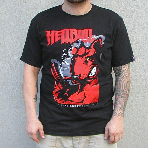 Dog T-shirt Bull Terrier Hellbull hand print T-shirt by PSIAKREW