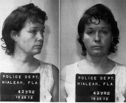 "Bettie Page's mugshot from October 29th 1972. Many of Bettie's fans don't seem to know that she left the pinup world and became a religious fanatic. Years later she was diagnosed as schizophrenic and eventually spent over 11 years in a state mental institution because she stabbed three people. A husband and wife the first time, and her 66 year old roommate the second time because she said ""God inspired her to do it""."