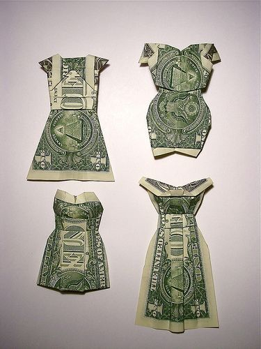 money dresses--put these on cards!! Umm.. Great idea.we'll see if I have the patience..or delegate!!