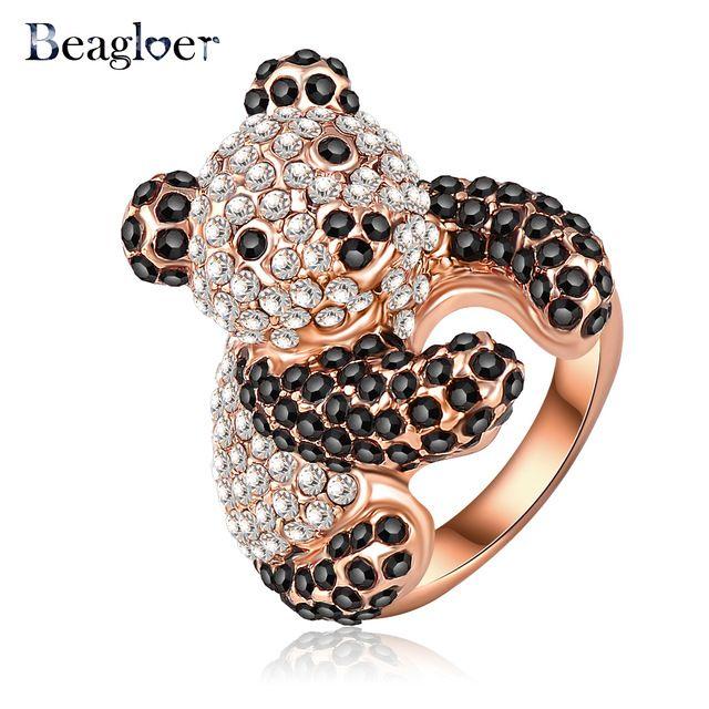 Beagloer Оптовая Прекрасные Panda Shaped Обручальные Кольца С Розовым Золотым Напылением и Чешских Кристаллов Свадебные Украшения Ri-HQ0179