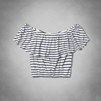 ruffle off the shoulder crop top from Abercrombie Kids