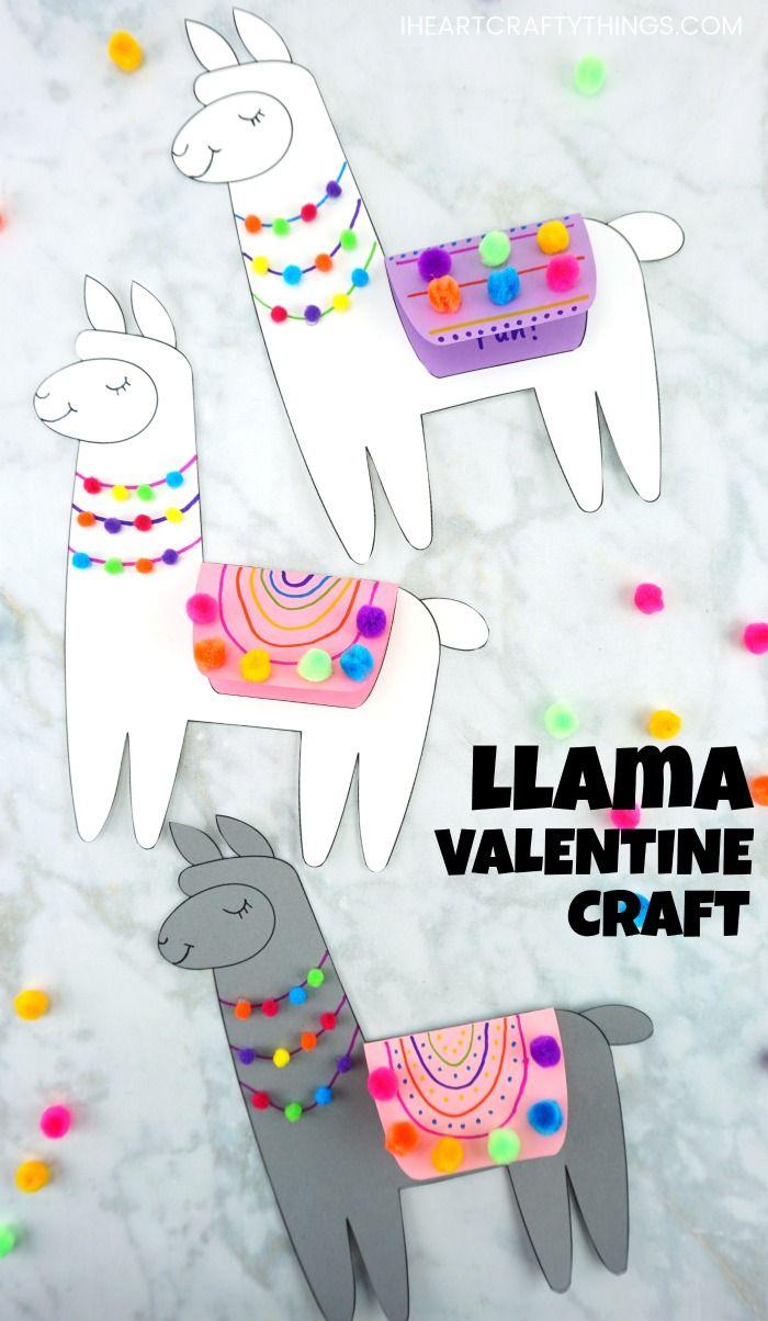 Llama Valentine Craft for Kids
