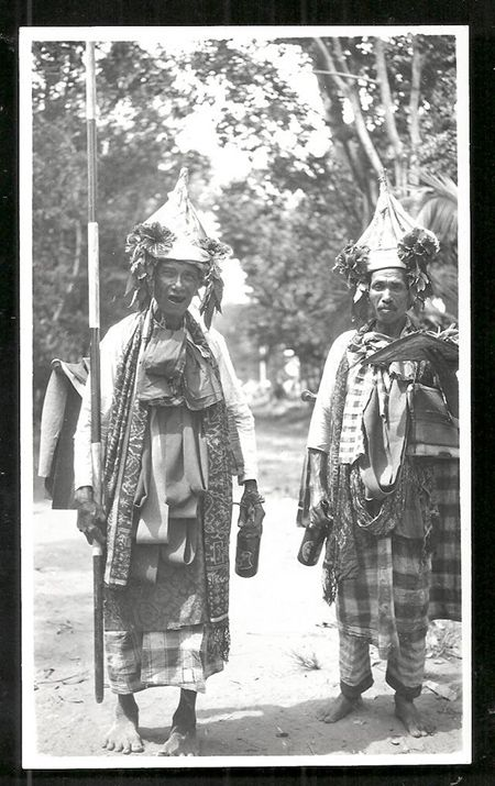 Baris dancers drinking beer, Bali (c. 1918) - fareastitems.com