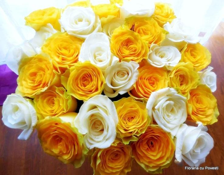 yellow and akito white roses