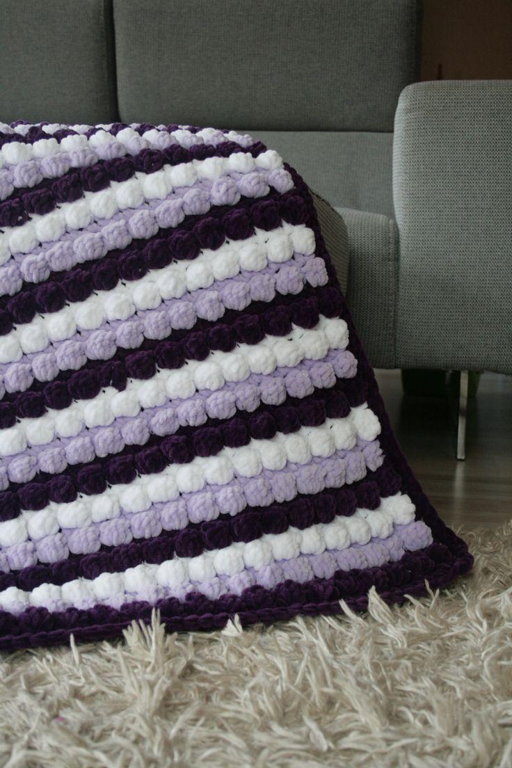 Crochet Super Soft Baby Blanket Baby Shower Gift Newborn Blanket Nursery Crib Afghan Purple Infant Photo Prop Violet Baby Blanket by ShopForBabyGifts on Etsy