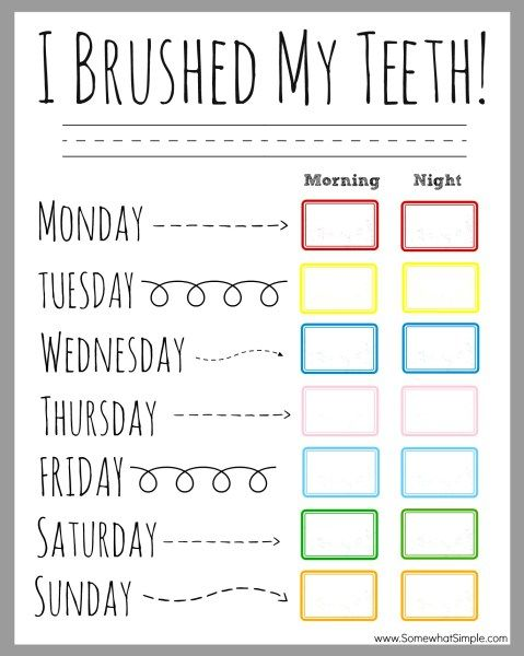 Children's Dental Health Month (February) - Printable Teeth Brushing Chart for passive program