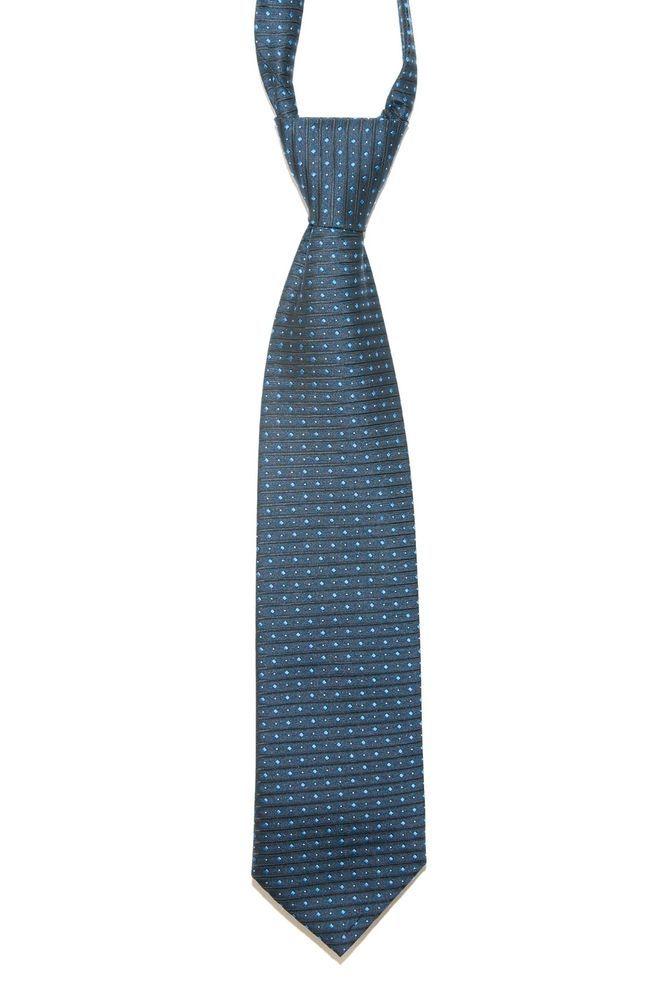 Vintage canda Blue + Black Diamond Striped Patterned Mens Kipper Tie 80s Wide
