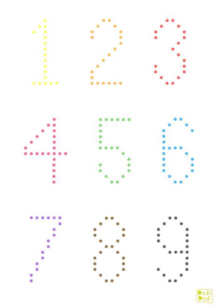 drukowane zadania - pisanie po kropkach - cyfry | free printable worksheet | tracing for kids