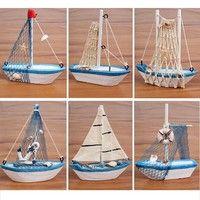 DÉCORATIONS DE PLAGE Wish | Mini Wood Sailing Boat Model Nautical Ornaments Home Decoration Gifts Color Random (Size: 0)