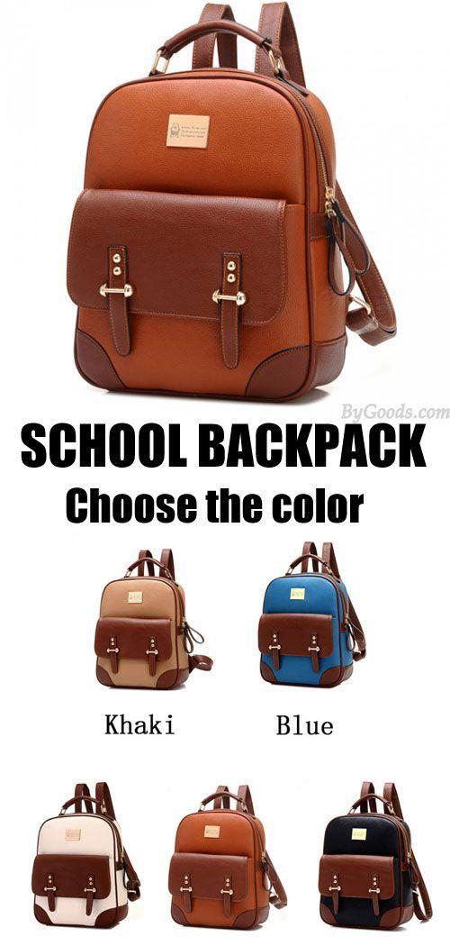 I like brown. Which color do U like? #Vintage #Leather #Backpack #school #bag #college #rucksack #girl