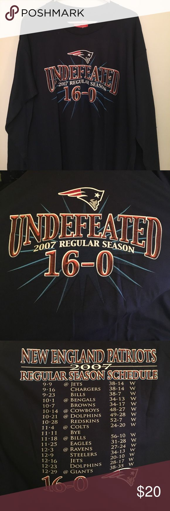 New England Patriots Undefeated Shirt! Calling all New England Patriots fans!! I have a BRAND NEW men's large Patriots Undefeated Season 2007 shirt! Never worn and still has the Bob's Stores and NFL Official tickets on it. How could we forget that 16-0 season?! NFL Shirts Tees - Long Sleeve