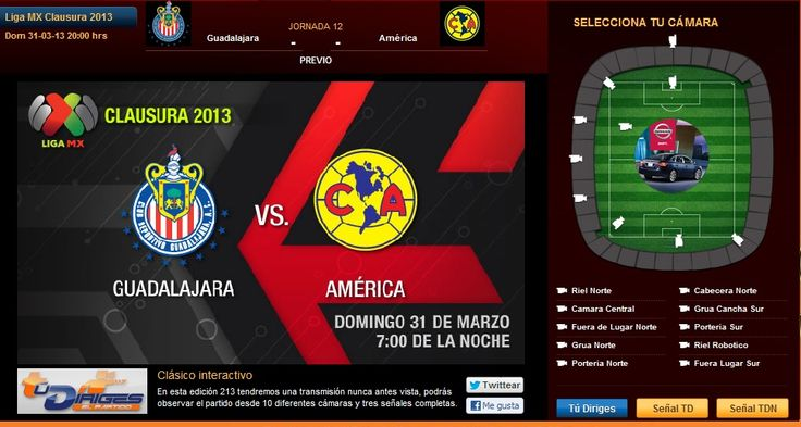 Chivas vs América Clásico Nacional Jornada 12 Clausura 2013 se enfrentan hoy Domingo 31 de Marzo a partir de las 20:00hrs y podrás verlo en vivo por Internet a través del Clásico Interactivo de Televisa Deportes, Tu Diriges El Partido.