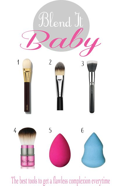Tips on tools for blending your makeup perfectly! I personally use a flat top brush for the over all foundation and a blending sponge to blend in the harder to reach spots -Taylor B.