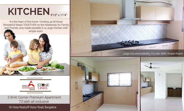 Cooking up all those Wonderful meals together on the weekends with friends and family, only made possible in a large kitchen with ample room #premiumapartment #kitchenwithampleroom #hosurroad #interiordesign