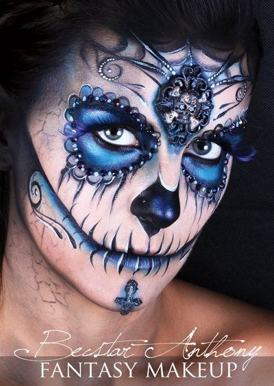 Amazing and gorgeous sugar skull candy makeup. Just amazing
