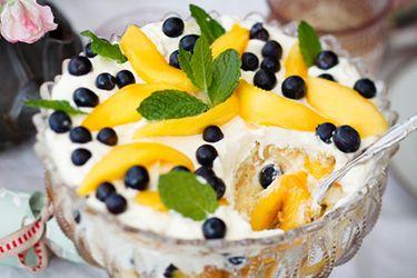 Mango and blueberry Christmas trifle