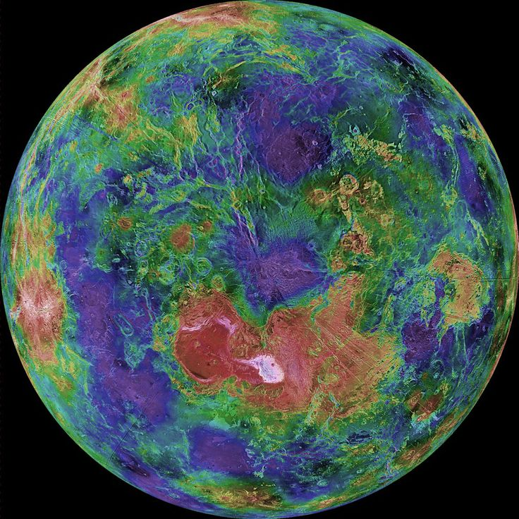 Hubble image of the planet Venus. Colorised to emphasise smaller features