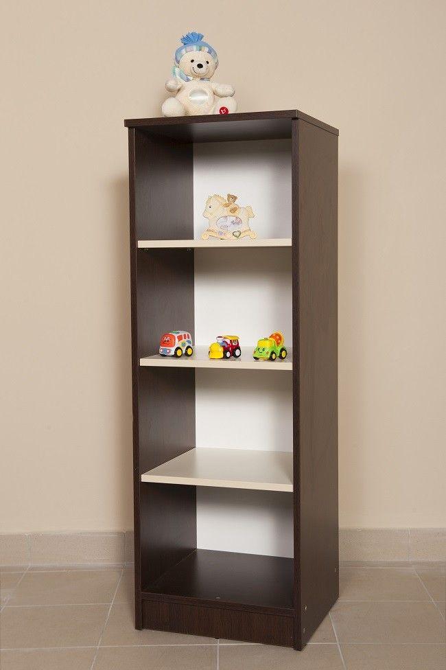 Savanna nyitott polcos szekrény, Savanna 135 cm magas nyitott polcos szekrény, wenge-fehér színben, Zsebi Babaáruház