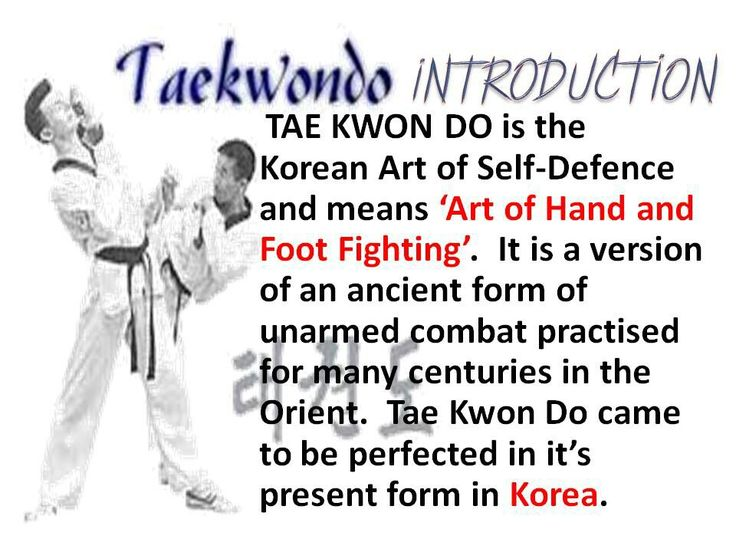 an introduction to the art of tae kwon do Tae kwon do is a modern martial art, well known all around the world for it's lightning fast, often high, spectacular spin kicks  an introduction to muay thai.