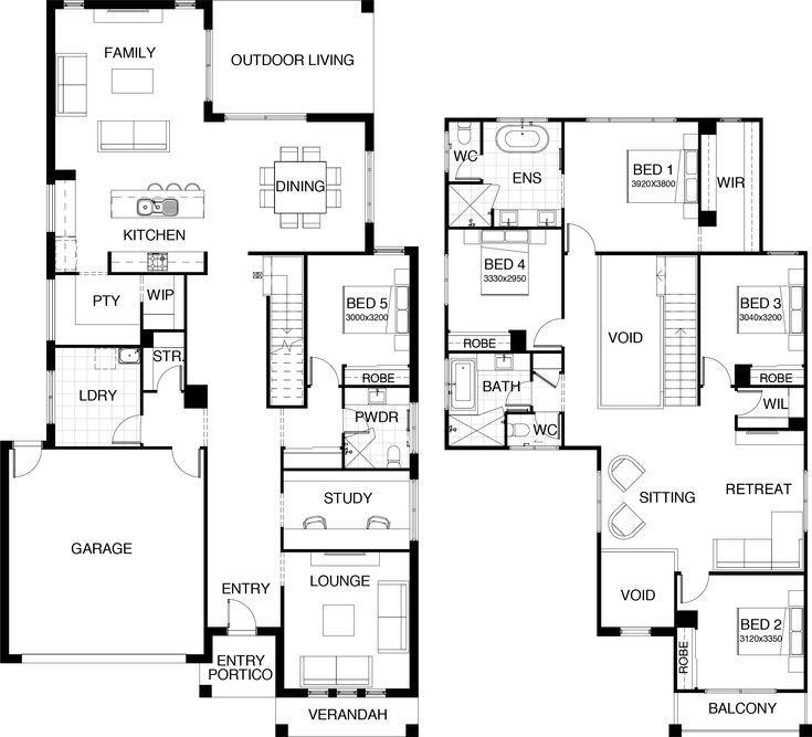 Kensington Collection Floor Plan Two Storey 5 Bedroom Guest Room On Main Fl House Plans Bedroom Col Grundriss Papierschneeflocken Buntes Papier