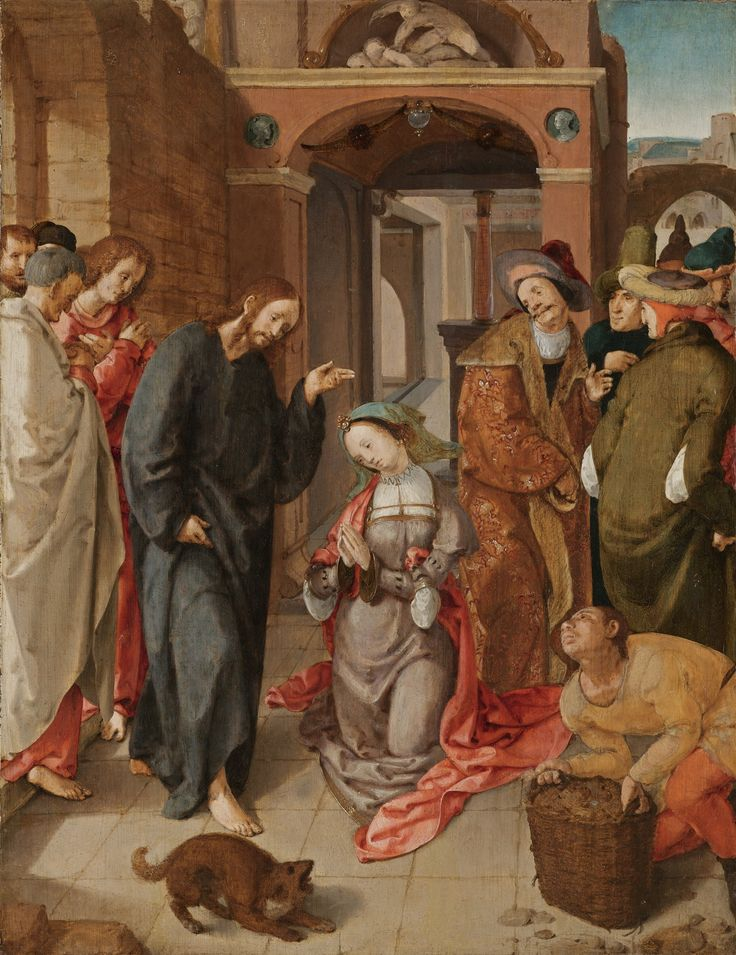 Workshop of Cornelis Engelbrechtsz. LEIDEN 1460/65 - 1527 CHRIST AND THE WOMAN TAKEN IN ADULTERY oil on oak panel 47 by 36.7 cm.; 18 1/2  by 14 1/2  in.: