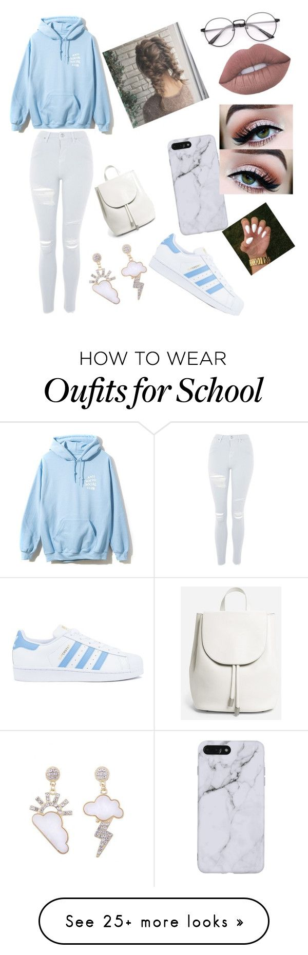 """""""lazy school day ☔⛅☁☁"""" by jaquy1224 on Polyvore featuring Topshop, Everlane and adidas"""