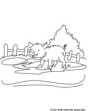 Printable Baby pig Coloring page for kids