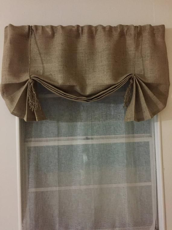 Burlap Window Valance 42 W 108 W X 25l The Hemingway In Burlap With Fringed Jute Ties By Jackie Dix Valance Window Valance Burlap Valance
