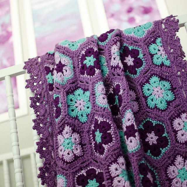 Peyton's purple & aqua african flower hexagon blanket. I finally finished crocheting it for her, it turned out so pretty.