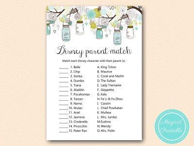 Tlc146 Disney Parent Match Mason Jars Baby Shower