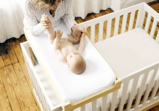 Crib plus changing station in one. great for a small baby room