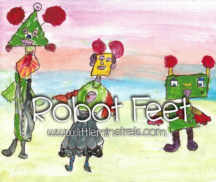 Preschool song to teach rhythmic time values through walking like robots.