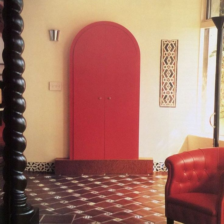 Ettore Sottsass red lacquer cabinet in Malibu home of Max Palevsky