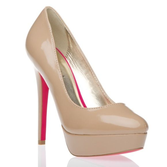 "Shoe Dazzle ""Chanelle"" Nude Patent Pumps Signature Sole by Shoe Dazzle, never worn- signs of wear shown in fourth photo (black mark on the front tip of the left shoe and two white marks on the side of the right shoe), 5 inch heel with one inch platform, cushioned foot bed.                                                                        PLEASE USE THE OFFER BUTTON WHEN NEGOTIATING PRICE; NO TRADES Shoe Dazzle Shoes Heels"