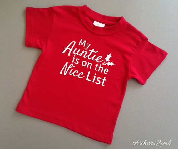 Auntie Nice List Christmas T Shirt,Auntie Gifts,Aunt Gift,Aunt Shirt,Christmas Gifts for Her,Family Christmas Gifts,Christmas Gift Ideas,Red