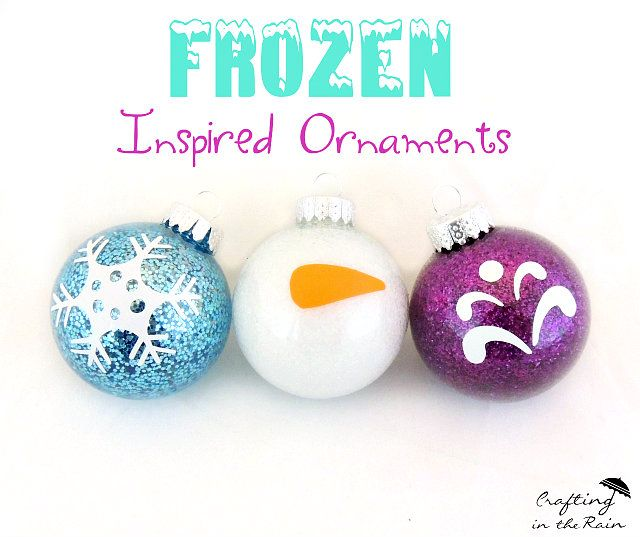 DIY Frozen  20+ DIY Disney ornaments | Lots of fun kids craft ideas for your Christmas decorating! Frozen ornaments, Ninja Turtle ornaments, Mickey Mouse ornaments and Disney princess ornament ideas! So fun!