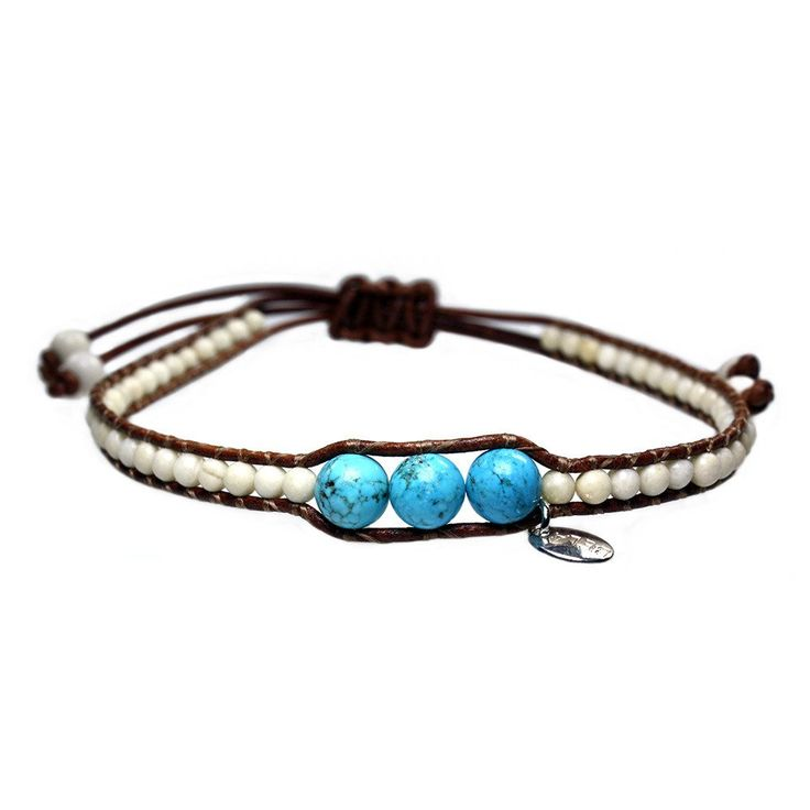 Anklet for men classic - Fossil and Turquoise