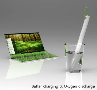 A highly futuristic concept of a laptop that bases it's charging system in the same water-soaking abilities of the bamboo by the designers Seunggi Baek and Hyerim Kim.   https://plus.google.com/112118861354873908587